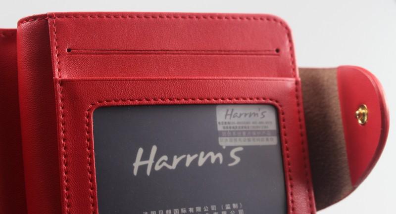 HTB1EJ7.LFXXXXXMXXXXq6xXFXXXS - Harrm's Brand Classical Fashion genuine leather women wallets short red blue Color female lady Purse for women with coin pocket