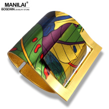MANILAI Fashion Country Style Painting Design Opened Big Cuff Bangle Bracelet For Women High Quality Costume Jewellery 2017(China)