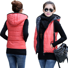 Spring 2015 Thickening Outerwear Hooded Patterns Fashionable Casual Cotton Women Vest Jacket Motorcycle Vest Free shipping DF199