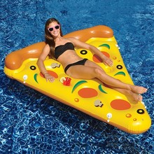 180CM Swimming Pool Water Toy Giant Yellow Inflatable Pizza Slice Floating Bed Raft Swimming Ring Air Mattress