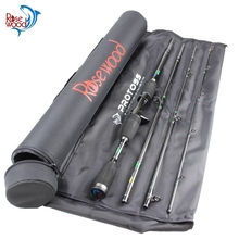 Portable 99% Carbon 4-Piece UltraLight Medium Power Spinning/Casting Handle Fishing Rod With Cordura Tube Bag(China)