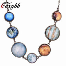 Caxybb 1 pc New Solar System Design planet universe galaxy necklace bronze pendant crystal necklace double face of charm jewelry