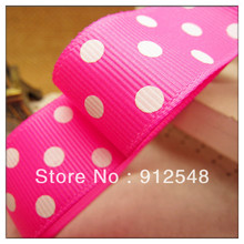 "Free shipping 1"" (25mm) Grosgrain ribbon Polka Dots printed pink ribbon with white dots, DIY hairbow accessories,ZYD012(China)"