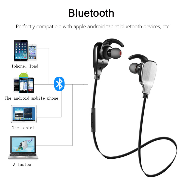 Moveski MH901 with Bluetooth Mic Wireless Earbud Headset In-ear with Noise Cancelling Sport Earphones Sweatproof