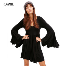 Buy ORMELL 2017 Autumn Long Sleeve Mini Dress Casual Party Bohemian Beach Sexy Dresses Backless Vintage Solid Slim Brand Vestidos for $28.69 in AliExpress store
