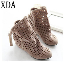 XDA Big Size 34-43 Women's Summer Boots Flat Low Hidden Wedges Cutout women Boots Ladies Dress Casual Shoes Hot sale Cute Flock