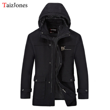 men jacket spring and autumn long section of fashion hooded jacket young mens jackets and coats 6659 plus size M-3xl 50(China)