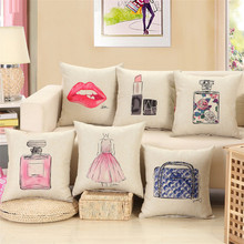 Fashion red lips cushion lipstick perfume bottle home sofa decorative pillow car seat capa de almofada cojines Almofada 45x45cm