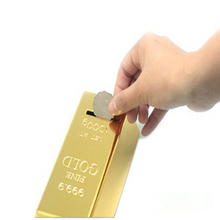 2018 1pc Creative ABS Plastic Piggy Bank Gold Bullion Brick Coin Case Saving Money Box for Kids Children Birthday Gifts(China)