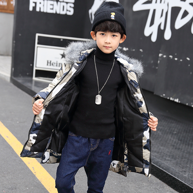 Winter Down Jacket  Boy  2017 Cotton Padded New Years clothing Children Long Cotton Thickened Camouflage Coat Tide<br>