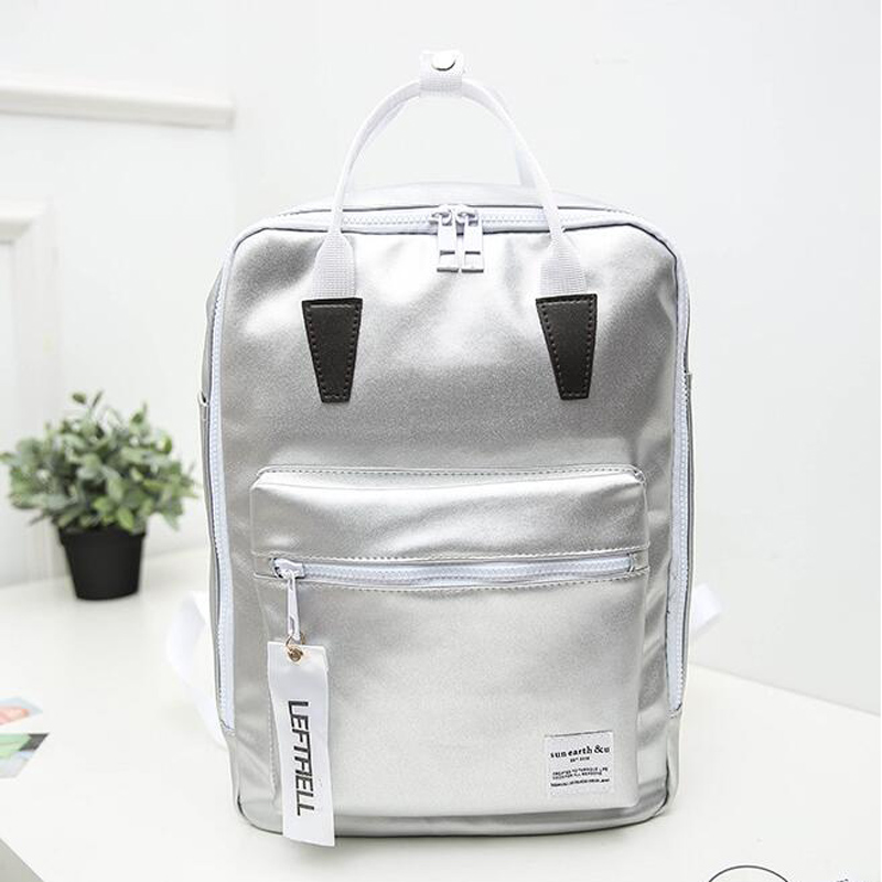 Japan and Korea Harajuku Style Women Backpacks Silver Big Capacity Travelling Shoulder Bags Teenagers Schoolbags<br><br>Aliexpress