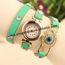 2015 Fashion Eye Hawaii Casual Luxury Jewelry Watches Women Rhinestone Hearts Dress Pendant Chain Leather Quartz Watch