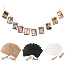10PCS/Lot Photo Frame DIY Paper Picture Holders Wall Rope Clip Weeding Decoration Party Supplies Porta Retrato Festa Casamento(China)