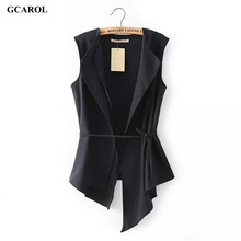 GCAROL 2017 Women Irregular Length Vest With Sashes Fashion Summer Spring Thin Waiscoat Black&White Casual Street Wear Vest
