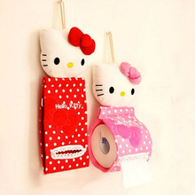 Cute Plush Hello Kitty Creative Hanging Tissue Box Toilet Paper Holder Cover Plush Cloth Toilet Paper Container Box