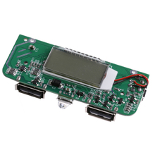 OOTDTY Dual USB 5V Power Bank Charger PCB Board Boost Step Up Board LED Screen Display