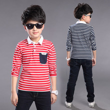 High Quality 100% Cotton Children Polo Shirts Summer Boys Clothes Long Sleeve Kids Striped Polos Boys Polo Shirt 2 Colors(China)