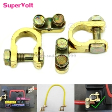 New 2Pcs Replacement Auto Car Battery Terminal Clamp Clips Brass Connector -Y121 Best Quality