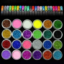 24 Colors Acrylic Nail Art Glitter Polish 0.3mm Fine Nail Glitter Powder for Nails Glitter Dust Decoration Nailart Design ZJ1317(China)