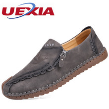 Leather Zapatos Rubber Sole Handmade leather Men Shoes Breathable Casual Sport Flat Suede Black Manual Sewing Botines Hombre(China)
