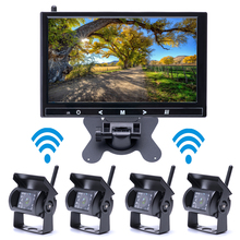 Wireless 4 Car Backup Cameras Waterproof 18 IR Night Vision with 9 Inch HD Monitor Rear View Monitor for Truck /Trailer /RV /Bus