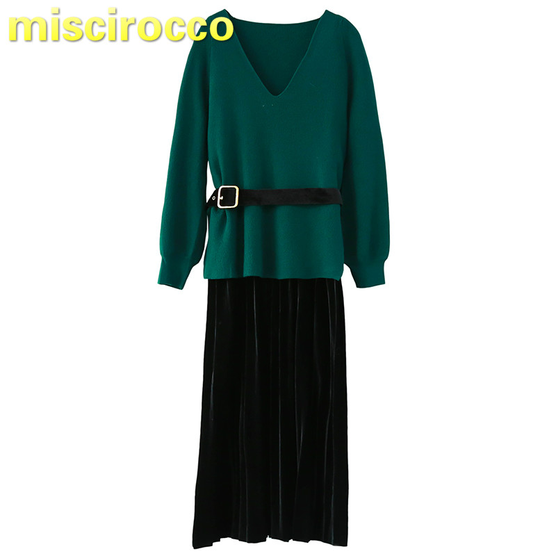 Pregnancy two-piece silk velvet dress Womens autumn winter dress suit go out  work emovable<br>