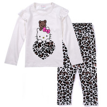 Cotton Hello Kitty Kids Clothes Baby Pajamas 2 Pieces Girls Clothes Sets Long-sleeved Top+Leopard Pants Toddler Girl Clothing