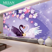 painting the bedroom of the Swan love Point Diamond Cross Stitch Wedding living room full of diamond hanging painting(China)