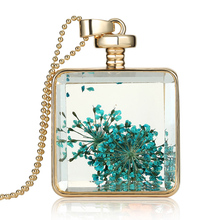 2016 Hot Mixed Colors Luxury Quality Gold Ball Chain Natural Dried Flower Crystal Pendant Necklace Glass Bottle Vial Jewelry