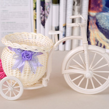 Rattan Craft big Vine basket Plastic Bicycle Vase For Artificial Flower Plants Wedding Christmas Party Home Decoration Gift