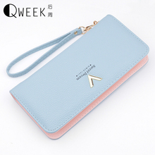 QWEEK Women Wallets 2017 New Long Fashion PU Leather Wallet Female V Clutch Card Holder Girl Coin Purse Zipper Cell Phone Pocket(China)