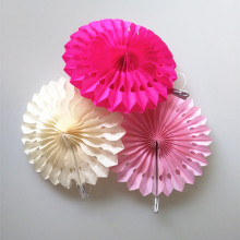 Wedding Decoration Fan 15cm Hollow Paper Folding Fan DIY Party Decorations Tissue Paper Fan Flowers Birthday Party Decoration(China)