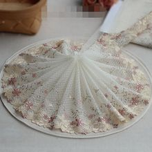 2 Yards Lace Trim blue Embroidered Cream-colored flowers Tulle Lace 7.881Inches Wide High Quality(China)