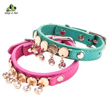 Adjustable Pet Collars Dog Collar Fashionable Necklace With Diamond Comfortable Two Size Color Green Rose Red Free Shipping(China)