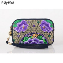 NEW 2016 Wristlet Women Handbag Purse Elegant Handmade Day Clutch Bag National Retro Embroidered Bag with Floral Design(China)