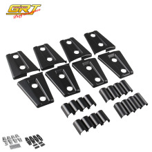 GRT - New 8pcs Black / Chrome Door Hinge Cover for Jeep Wrangler 4 Door 2007 - 2016