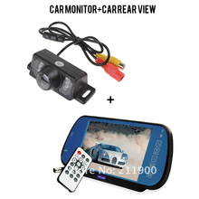 7 Inch Car Monitor LCD Multimedia Player Rearview Mirror + E350 Night Vision Color Car Rear View Camera Reverse Backup Camera