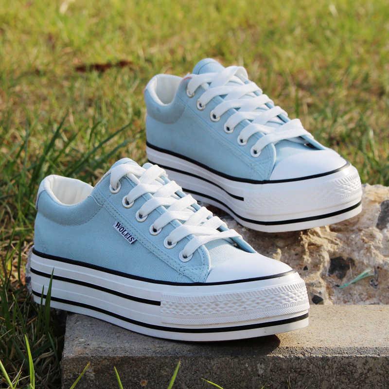 Весна Лето низкая помощь холст обувь женская для студенток большой база  обувь на платформе джокер 4bfd3e8b15b