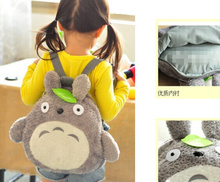 School Backpack ; [36*33CM] Fits 4-10Year Kids Kawaii Green Leaf TOTORO Plush Children Baby Kindergarten Backpack Shoulder Pack(China)