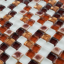 brown porcelain kiln ceramic mixed crystal glass and stone mosaic tiles HMCM1051 kitchen backsplashl bathroom floor ceramic wall(China)