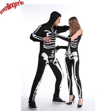 Skeleton Couples Costume Hoody Skeleton Costume Skull Bone Adult Party Dress Jumpsuit Halloween Costumes for Adult Lovers