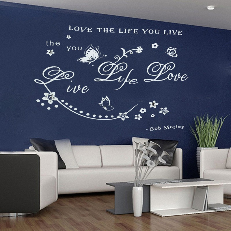 New Arrival White Love The Life You Live Butterfly Bob Marley Quote Art Removable Wall Sticker Decals Home Bedroom Decor Gift(China (Mainland))