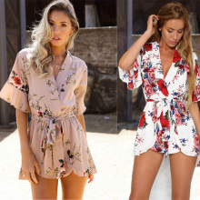 2018 Fashion Shorts Rompers Womens Jumpsuits Summer Ladies Flower Sexy Deep V Neck Short Sleeve Floral Tie Waist Casual Jumpsuit