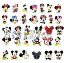 100pcs Cartoon Mickey Minnie Metal Charm Key chain necklace Pendants DIY Jewelry Making Mobile Phone Accessories