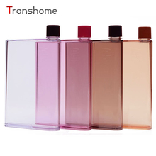 Transhome Creative Notebook Flat Bottle Plastic Paper Sports Travel Outdoor Drinking Water Bottle BPA free Drinkware 420ML/350ML