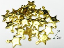 10pc Gold Star Bead Charms Fashion Girl Kids Jewelery Chip Necklace Vintage Cake Top Decoration DIY Home Craft