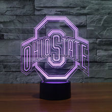 3d Lamp Night  Ohio State Logo  7 Color Change,Best Gift Night Light LED Furnish Desk Table Lighting Home Decoration Toys