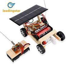 LeadingStar 2018 NEW Wooden DIY Solar RC Vehicle Car Wooden Assembly RC Toys Science Model Educational Toy Intelligence(China)