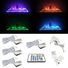 RGB LED Glass Edge Lighting Kit: 4pcs RGB LED Glass Shelf Lights+ IR Remote Controller for Glass Book Shelf Decorative Lighting(China)