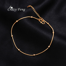 2017 New Trending Foot Jewelry Gold Color Round Ball Anklets Snake Chain Ankle Bracelet Cheville Accessories for Beach Holiday